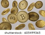 close up of golden bitcoins... | Shutterstock . vector #605499365