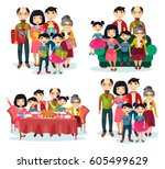 asian family with father and... | Shutterstock .eps vector #605499629