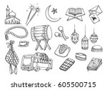 islamic doodle  suitable for... | Shutterstock .eps vector #605500715