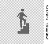 man on stairs going up vector... | Shutterstock .eps vector #605501549