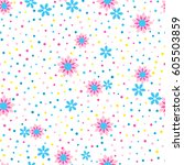 seamless floral pattern with... | Shutterstock .eps vector #605503859