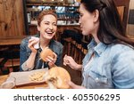 positive delighted woman... | Shutterstock . vector #605506295