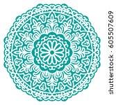 mandala. vector ethnic oriental ... | Shutterstock .eps vector #605507609