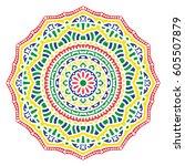 mandala. vector ethnic oriental ... | Shutterstock .eps vector #605507879