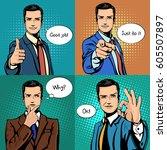 Comic Cartoon Businessman With...