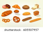 set of bread food  sliced... | Shutterstock .eps vector #605507957