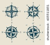 isolated set of retro compass ... | Shutterstock .eps vector #605511851
