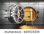 vault bank door in storage room.... | Shutterstock . vector #605523335