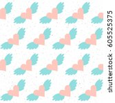 handmade seamless pattern... | Shutterstock .eps vector #605525375