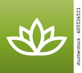 white lotus symbol on green... | Shutterstock .eps vector #605526521