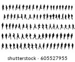 people athletes on running race ... | Shutterstock .eps vector #605527955