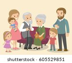 big family caucasian european... | Shutterstock .eps vector #605529851
