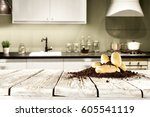 fresh food in kitchen  | Shutterstock . vector #605541119