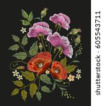 flowers embroidery on black... | Shutterstock .eps vector #605543711