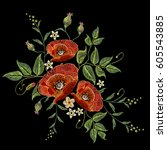 poppies embroidery on black... | Shutterstock .eps vector #605543885