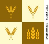 wheat ears icon set. barley or... | Shutterstock .eps vector #605552861