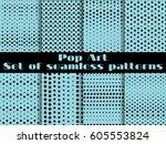 dotted  pop art seamless... | Shutterstock .eps vector #605553824