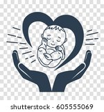 concept of the birth of a child ... | Shutterstock .eps vector #605555069