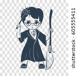 icon of a wizard boy with a... | Shutterstock .eps vector #605555411
