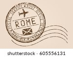 rome mail stamp. old faded... | Shutterstock .eps vector #605556131