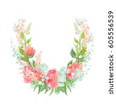 summer wreath with flowers and... | Shutterstock . vector #605556539