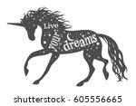 live your dreams. magic unicorn ... | Shutterstock .eps vector #605556665