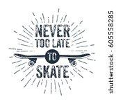 hand drawn 90s themed badge... | Shutterstock .eps vector #605558285