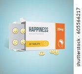 antidepressants open drug box... | Shutterstock .eps vector #605566217