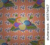 seamless floral ornament.... | Shutterstock .eps vector #605576417