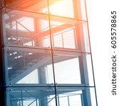interior of a modern glass... | Shutterstock . vector #605578865