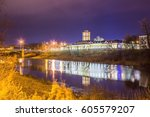 night landscape of the city... | Shutterstock . vector #605579207
