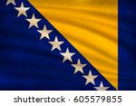 the national flag of bosnia and ... | Shutterstock .eps vector #605579855