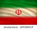 the national flag of iran on... | Shutterstock .eps vector #605580419