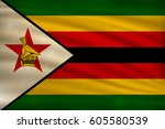 the national flag of zimbabwe... | Shutterstock .eps vector #605580539