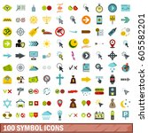 100 symbol icons set in flat... | Shutterstock .eps vector #605582201