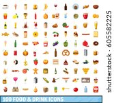 100 food and drink icons set in ... | Shutterstock .eps vector #605582225