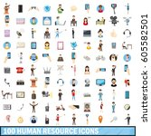 100 human resource icons set in ... | Shutterstock .eps vector #605582501