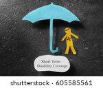 bandaged paper man under... | Shutterstock . vector #605585561