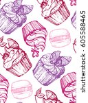 hand drawn doodle pattern with... | Shutterstock .eps vector #605588465