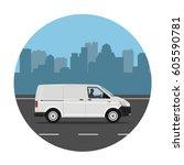 van on the road over city... | Shutterstock .eps vector #605590781