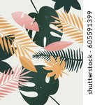 vector summer tropical print.... | Shutterstock .eps vector #605591399