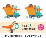 find the differences. kids... | Shutterstock .eps vector #605594435