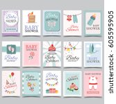 baby shower card set for boy... | Shutterstock .eps vector #605595905