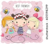 three cute cartoon girls on a... | Shutterstock .eps vector #605598299