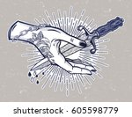 traditional tattoo flash hand... | Shutterstock .eps vector #605598779