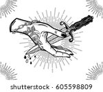 traditional tattoo flash hand... | Shutterstock .eps vector #605598809