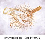 traditional tattoo flash hand... | Shutterstock .eps vector #605598971