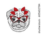 funny pug with a bow. vector... | Shutterstock .eps vector #605602784