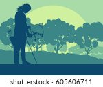 archer woman with bow outdoor... | Shutterstock .eps vector #605606711