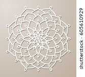 vector stencil lacy round...   Shutterstock .eps vector #605610929